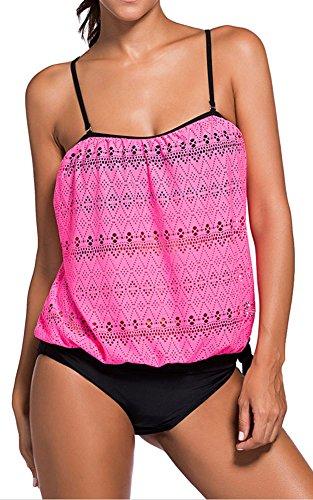 EmilyLe donne Tankini delle Shorts due pezzi Costumi da bagno estate Beachwear Rosa