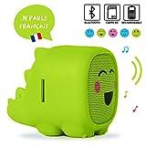 Muzikami Green Jocky - Enceinte pour Enfant, Parle en français, Compatible Bluetooth et Carte Micro SD, Batterie Rechargeable
