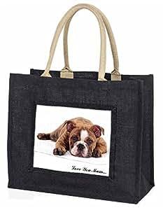 Advanta gestromt Bulldog LOVE YOU MUM Große Einkaufstasche/Weihnachtsgeschenk, Jute, schwarz, 42x 34,5x 2cm