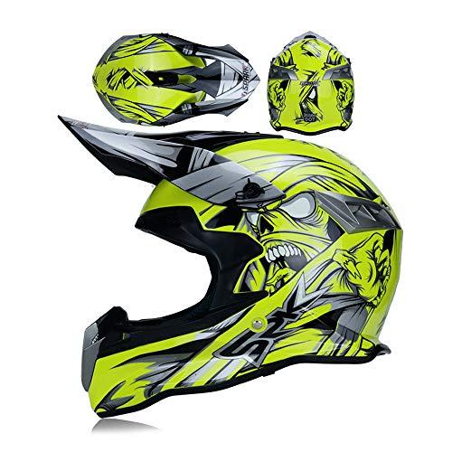 LEENY Casco di Motocross con Occhiali Protettivi, Caschi da Cross Integrali Adulto Fuori-Strada Moto e Mountain Bike Helme, Unisex Motocicletta Cross-Country Casco per Uomini e Donne, Size,S
