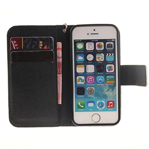 Apple iPhone SE iPhone 5S Coque Cuir Portefeuille, iPhone 5S Case, Etui iPhone 5 5S / SE Rabat Style Flexible PU Joli Original Peinture - Mandala Fleur Noir-2
