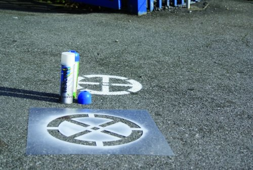 LEMAX® Signierschablone Kunststoff Absolutes Haltverbot Bodenmarkierung 550x550mm