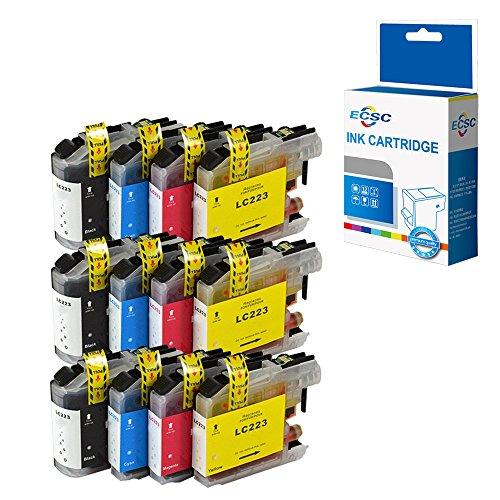 ECSC Compatible Tinta Cartucho Reemplazo Por Brother DCP-J4120DW J562DW MFC-J4420DW J4620DW J4625DW J480DW J5320DW J5620DW J5625DW J5720DW J680DW J880DW LC223 (Negro/Cyan/Magenta/Amarillo, 12-Pack)
