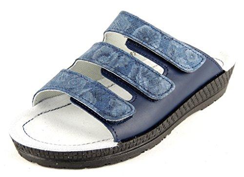 Rohde Femme Pied Lit Pantolette cuir Ocean Velcro 1456 Jeansblau