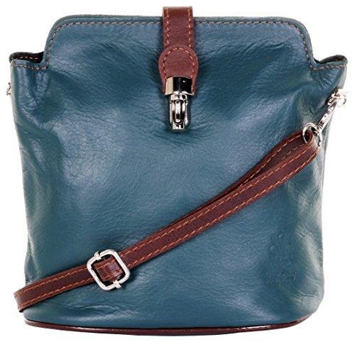 ienische Leder Hand gemacht kleine Teal & Brown Cross Körper oder Schultertasche Handtasche. Enthält einen Markenschutz-Beutel ()