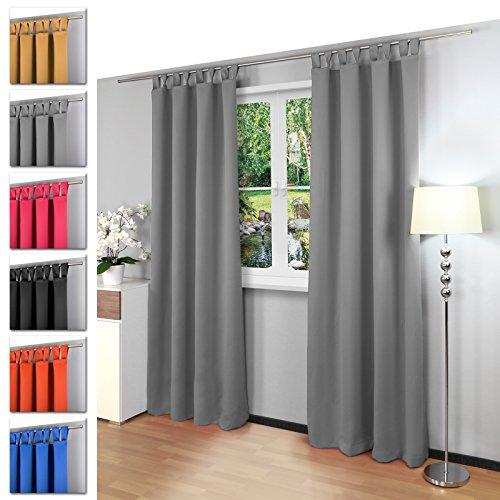 Blickdichter einfarbiger Schlaufenschal, viele attraktive Farben, Maße: 135x245 cm Model Gräfenstayn Alana (grau)
