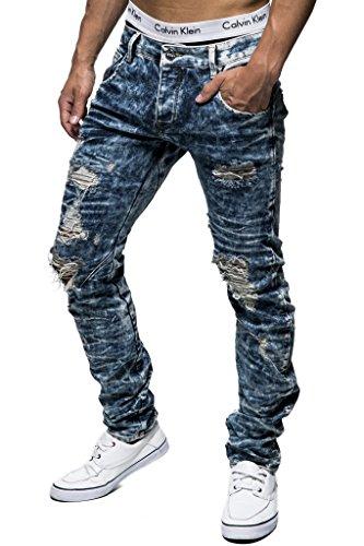 Leif Nelson Herren Jeans Hose Slim Fit Denim Blaue graue Lange Jeanshose für Männer Coole Jungen weiße Stretch Freizeithose Schwarze Cargo Chino Sommer Winter Basic LN1219-2994 Blau-Töne W29/L34