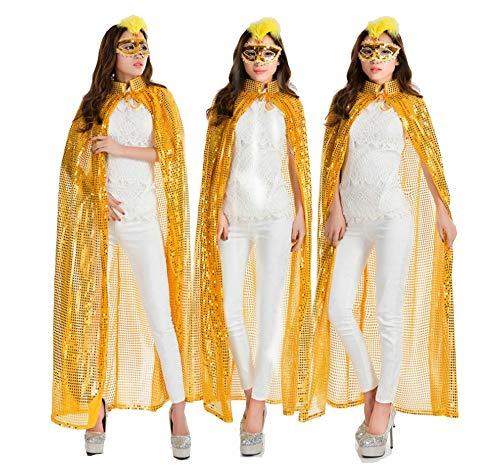 ZHLJ Pailletten Mantel Halloween Maskerade Performance Requisiten Sexy Farbe Göttin Mantel Maske (Color : Yellow) (Kind Blaue Göttin Kostüm)