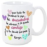 Taza original de desayuno para regalar a amigas amigos y seres queridos - Que todo lo bueno te siga te encuentre y te abrace - 350 ml - Tazas con frases motivacionales