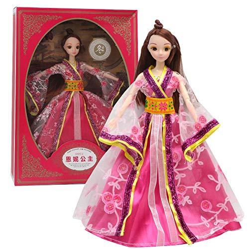 Jahreszeiten Kostüm Vier Mädchen - Tnfeeon 4 STÜCKE Chinesische Antike Kostüm Vier Jahreszeiten Prinzessin Dress Up Spielen Puppe Figur Spielset Geburtstag Mädchen Chilren(Winter)