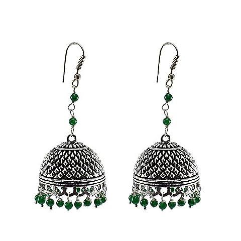 Silvestoo India Emerald Green Quartz Jhumka-Indian Jewellery-Traditional Earrings PG-105603