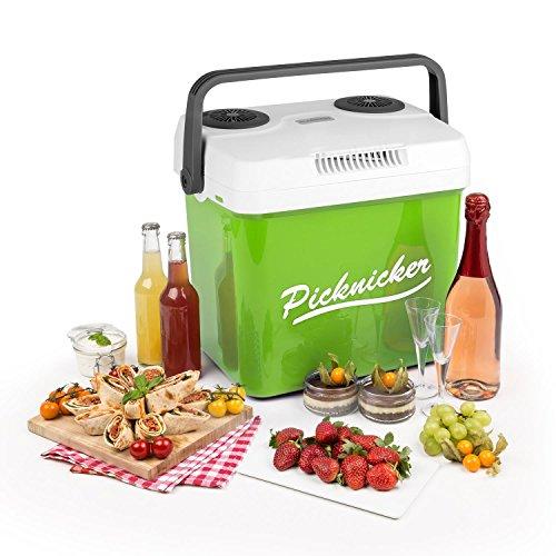 Klarstein • Picknicker XL • Thermo-Kühlbox • Warmhaltebox • Thermobox • Mini-Kühlschrank • 32 Liter • 48 Watt • leiser ECO-Modus • AC / DC Netzkabel • 2 Betriebsmodi • Tragehenkel • herausnehmbarer, spülmaschinengeeigneter Gittereinsatz • ca. 4,8 kg • grün