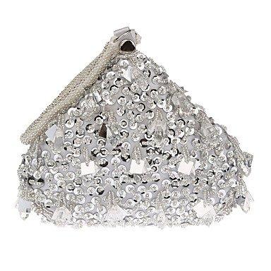 pwne Frauen Abend Beutel Polyester Alle Jahreszeiten Hochzeit Event / Party Formale Falte Über Kupplung Pearl Details Verschluss Schloss Gold Schwarz Silber Rot Silver