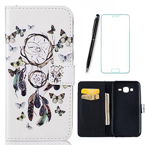 Preisvergleich Produktbild Lotuslnn Galaxy J3 Hülle,PU Leder Wallet Case Folio Schutztasche für Samsung Galaxy J3 J310 / J320 J3(2016) (5,0 Zoll) Tasche Hülle-Blutterfly Dreamcather White