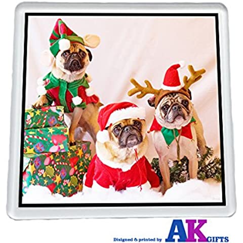 Pugs Natale Elfo renne e Babbo Natale Sottobicchiere idea (Pug Christmas Stocking)