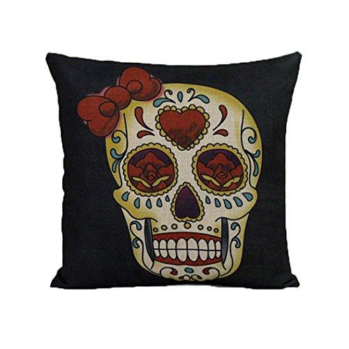 Bett Autos Dekoration Vintage Skull Pillowcover Schädel Kissen neu (A) (Totenkopf Weihnachts-dekorationen)