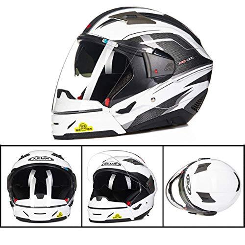 YD Motocross Casco per Moto Dual Lens Occhiali da Sole integrati Casco Combinato Harley Mezzo Casco/Casco Integrale Commutabile Protezione Solare Four Seasons Uomini e Donne Protezione della Testa,L