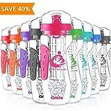 Grsta Migliori Bottiglie di Acqua infusore Frutta con Filtro - 1 litro Detox Sportiva Borraccia d'Acqua con Congelatore Gel Ball - Senza BPA Tritan Plastica Water Bottle (Rosa)