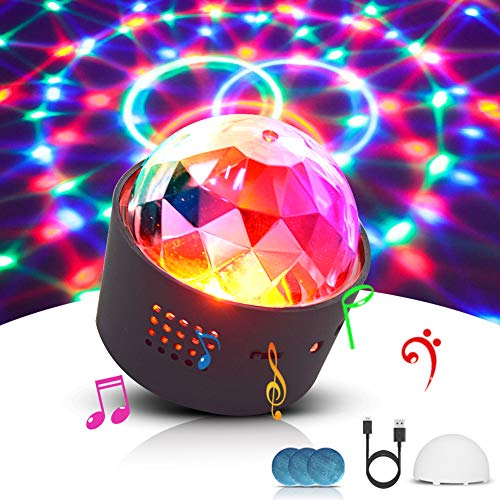 Discokugel, LED Lichteffekt Mini DJ Balls Licht 3W LED RGB Sound Control USB Charge Magnet Adsorption Portable Bühnenbeleuchtung für Party Home Car KTV Bar Bühnenfeier