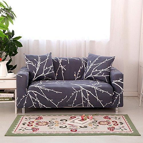HYSENM 1/2/3/4 Sitzer Sofabezug Sofaüberwurf Stretch weich elastisch farbecht Blumen-Muster, Grau 2 Sitzer 145-185cm (Blaue Hussen Für Couch)