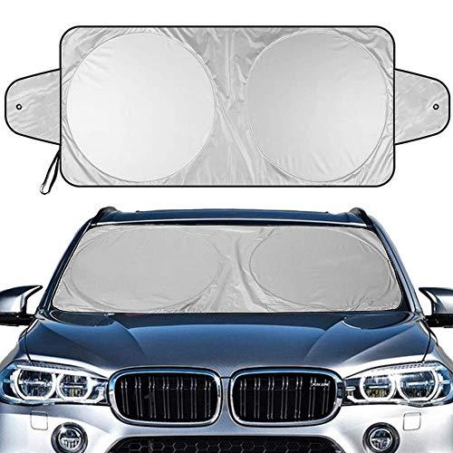 """Hippo Sonnenschutz Auto Sonnenblende Frontscheibe für Alles Auto SUV LKWs UV Schutz Geeignet für Vier Jahreszeiten (Silber- 63\""""x 35\"""", 160cm x 90cm)"""