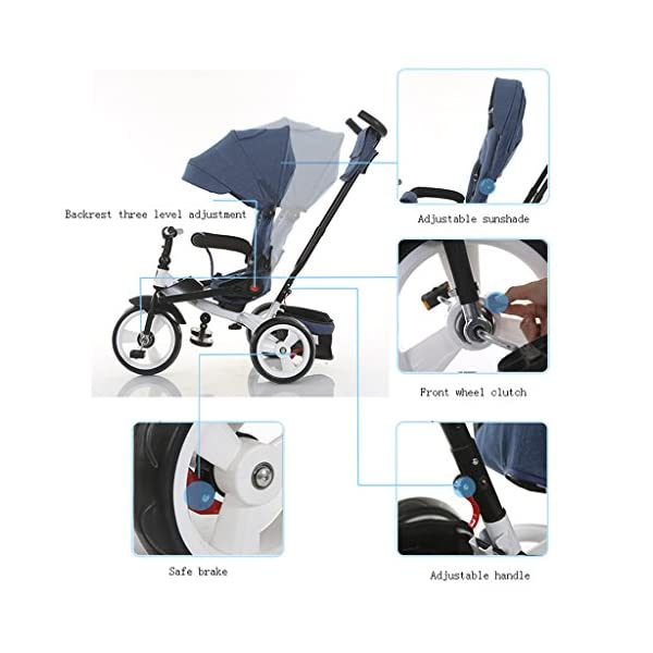 Baby Kids Children Tricycle Ride-on 3 Wheels Safe for Children with Sun Canopy,Back Storage and Non-Slip Handle (Color : A) DUOER-Pushchairs Features assembled canopies without worrying about rain and sunshine. Safety features and safety belts are provided for safety. The pedal can be folded for more convenient use: the pedal can be folded to make travel more convenient. Upgrade the thickened sponge pillow to protect the baby's head and make the baby ride safer. 4