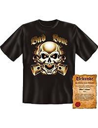 Coole Witzige Biker & Motorradfahre Tshirt! Bad Bone! - in Schwarz bis 5XL - mit Gratis Biker Urkunde von Goodman®