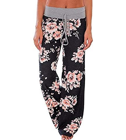 Zhaoyun Womens Plus Size Floral Print Drawstring Long Wide Leg High Waist Palazzo Trousers