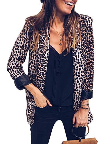 Blazer Para Mujer Estampado de Leopardo Collar de Solapa Ajuste Recto Talla Grande Sastre Chaqueta de Manga Larga Estación Media L