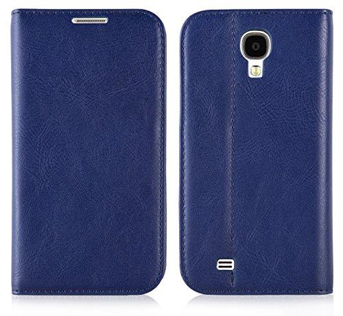 JAMMYLIZARD | Custodia in pelle Flip Cover per Samsung Galaxy S4, BLU SCURO