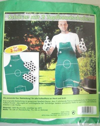 Grillschürze Kochschürze = Fußballfeld mit Handschuhe = Sueroversand