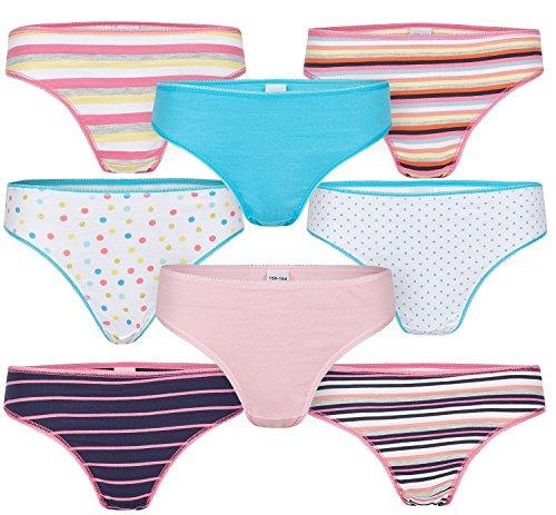 8er Pack Mädchen Slips Kinder Unterhosen 134-140/mehrfarbig