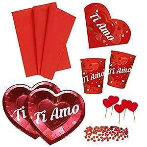 Kit N.6 Coordinato SAN VALENTINO con Tovaglia, piatti, bicchieri, tovaglioli, confetti e picks cuore - Anniversario Matrimonio Decorazioni Ti amo Love