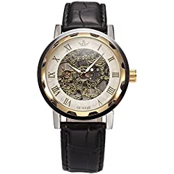 AMPM24 Classic Roman Hand-winding Mens Mechanical Hollow Skeleton Wrist Watch + AMPM24 Gift Box PMW297