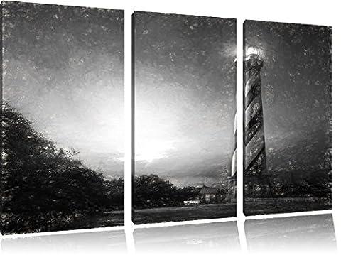 Cape Hatteras Leuchttum Kunst Kohle Effekt 3-Teiler Leinwandbild 120x80 Bild auf Leinwand, XXL riesige Bilder fertig gerahmt mit Keilrahmen, Kunstdruck auf Wandbild mit Rahmen, gänstiger als Gemälde oder Ölbild, kein Poster oder Plakat