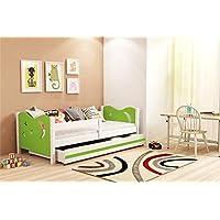 Lettino per bambino, Nicolò 160x80 (Verde), letto con cassettone, cameretta per bambini e ragazzi, telaio in legno di pino massello, MATERASSO GRATIS.