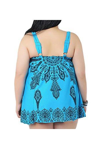 OUO Damen Badeanzug große größen Tankini Plus Size Badekleider mit Röckchen Blau