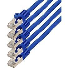 1,0m - azul - 5 piezas - CAT.7 Cable de red ( SET ) - 10000 Mbit/s - Ethernet LAN 600MHz   10 / 100 / 1000 / 10000 Mbit/s   Cable Patch   CAT7   S-FTP   Doble blindado   PIMF  libre de halógenos   compatible con CAT 5 / CAT 6a / CAT 6a   para switch, router, módem, Patchpannel, punto de acceso, Internet, Smart TV Xbox, Playstation