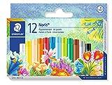Staedtler Noris 241, Pastels à l'huile pour dessin et coloriage, Étui carton avec 12 pastels de couleur assortis, 241 NC12