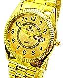Evil Wear Herren Armband-Uhr Gold Markenuhr Klassische Herrenuhren mit Datum Gold Watch
