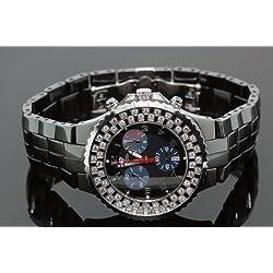 Aqua Master Unisex Black Ceramic Diamond Watch