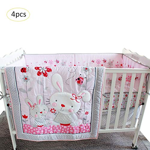 4 Stück Krippe Baby zu Hause Mädchen Bettwäsche Rosa Hase Bett Bettwäsche Bett Trampolin Rock