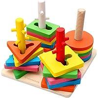 Univocean Multi-Color Geometric Shape Wooden Stacking Puzzle, 4 Columns Building Blocks Toy for Kids