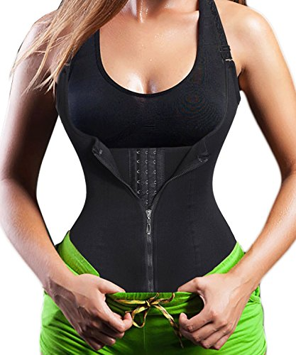 Damen Waist Trainer Shaper Vest Sport Body Cincher Korsett Taille Corsage mit Adjustable Strap (L(Fit 27.5-30.7 Inch Waist), Black (3-5 Days ()