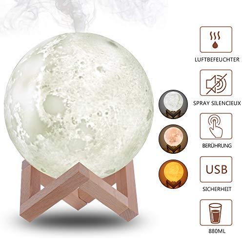 MEckily 3D-Mondlampe, 880ML Luftbefeuchter Nacht Cool Mist Purifier Weihnachtsgeschenk für Kinder und Erwachsene