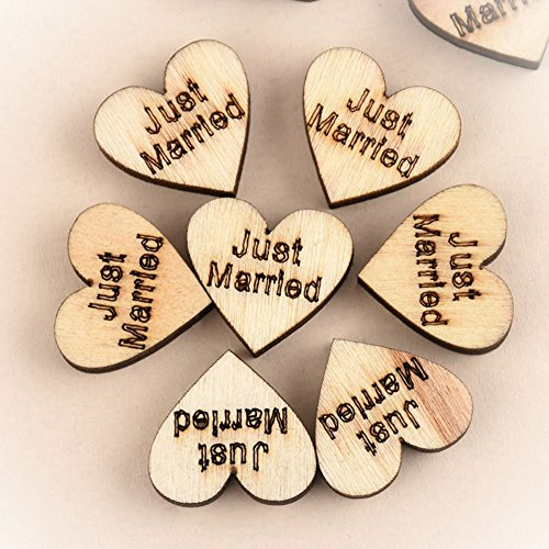 Gemini_mall� Wooden Heart Embellishments for Crafts 25mm Pack of Approx.100pcs Table Scatter Wedding Decoration (Just Married)