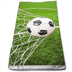 Idea Regalo - huibe Asciugamano Sportivo Pallone da Calcio Che Colpisce Goa Asciugamano da Bagno Asciugamano Asciugamano da Bagno Super soffice in Poliestere 30 x 70 cm