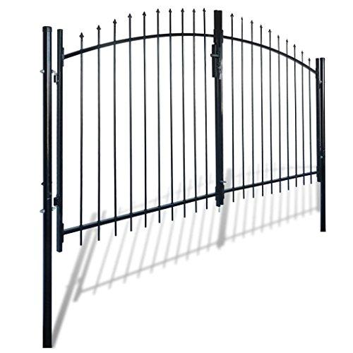vidaXL Portail double porte surmonté de piques Clôture barrière de jardin 300 x 200 cm