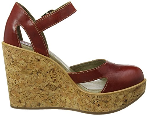 FLY London Hoba931, Sandales Compensées Femme Rouge (Red 002)