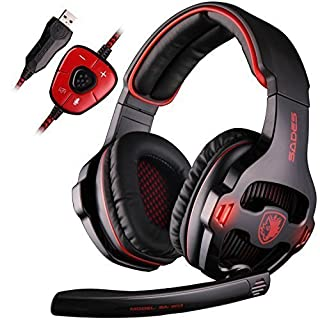 SADES SA903 7.1 Channel Surround Stereo Gaming Headset Noise Canceling LED Light USB Wired Over Ear PC Gaming Headset(Black&Red)